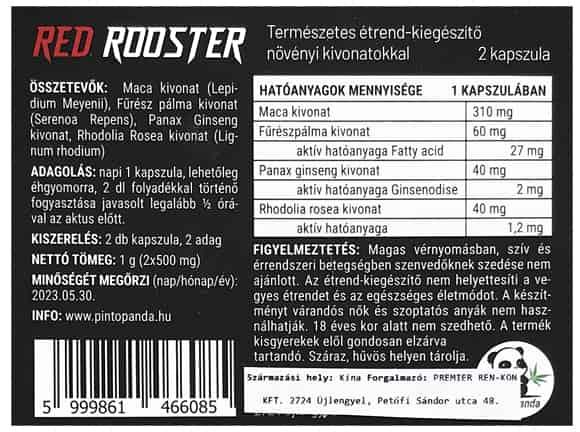 red rooster potencianövelő hátlap